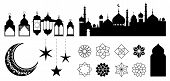 Islamic Ornaments, Symbols And Icons. Vector Illustration With Moon, Lanterns, Patterns And City Sil poster