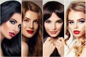 Haircare And Hair Coloring. Four Woman With Brunette, Blond, Brown And Ginger Hair poster