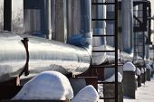 Pipelines, Pipes. Abstract Industrial Background. Winter. Russia. poster