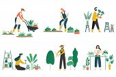People Gardening. Woman Planting Gardens Flowers, Agriculture Gardener Hobby And Garden Job Flat Vec poster