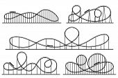 Roller Coaster Silhouette. Amusement Park Atractions, Switchback Attraction And Rollercoaster Vector poster