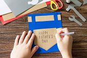 The Child Draws Details Greeting Card With Happy Fathers Day. Childrens Art Project Craft For Kids. poster