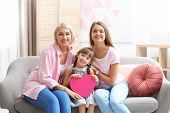 Beautiful Mature Lady, Daughter And Grandchild With Gift Box At Home. Happy Womens Day poster