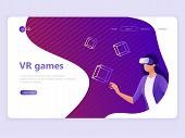 Landing Page Template. Vr Gaming, Video Gaming, Online Games. Woman With Vr Glasses. Flat Vector Ill poster