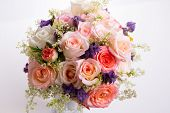 Luxury Bouquet Made Of Roses In Flower Shop Valentines Bouquet Of Pastell Roses poster