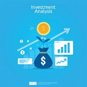 Financial Investment Analysis Concept For Business Marketing Strategy Banner. Return On Investment R poster