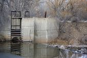 Picture of diversion dam and inlet to irrigation ditch.