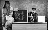 Teacher Indignant Sit Table Chalkboard Background. School Discipline And Behaviour Rules. Student In poster