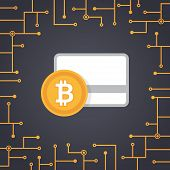 Bit-coin Payment In Flat Design Vector With Circuit Board Background poster