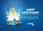 1 St Year Anniversary Banner With Open Burst Gift Box. Template First Birthday Celebration And Abstr poster