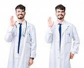 Collage of young doctor man wearing medical coat Waiving saying hello happy and smiling, friendly we poster