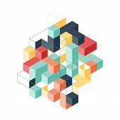 Abstract Geometric Isometric Shape Layout Design Template Background Modern Art Style. Design Elemen poster