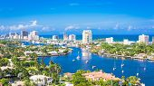 Fort Lauderdale, Florida, USA skyline over Barrier Island. poster