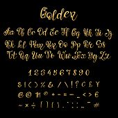 Calligraphic Golden Letters And Numbers. Luxury Elegant Gold Vector Font Script. Golden Alphabet Cal poster