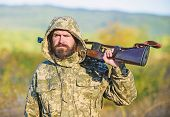 Guy Hunting Nature Environment. Bearded Hunter Rifle Nature Background. Harvest Animals Typically Re poster
