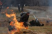 German soldier with flame-thrower. WWII reenactment in Kiev,Ukraine