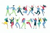 Jumping Character In Various Poses. Group Of Young Joyful Laughing People Jumping With Raised Hands. poster