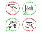 Do Or Stop. Bar Diagram, Report And Cogwheel Icons Simple Set. Ab Testing Sign. Statistics Infochart poster
