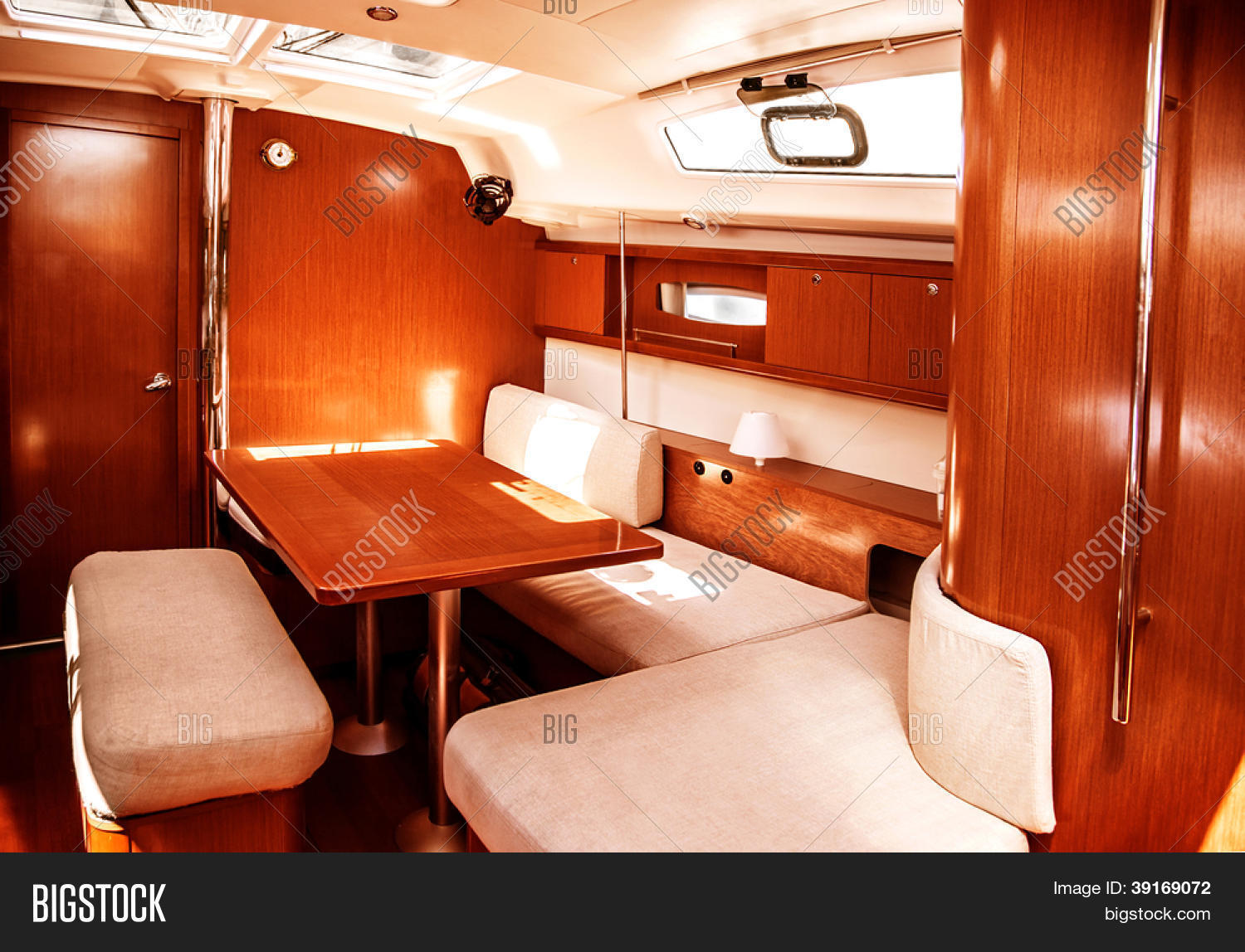 Image Of Luxury Ship Interior Comfortable Sailboat Cabin Expensive Wooden Design And Soft White