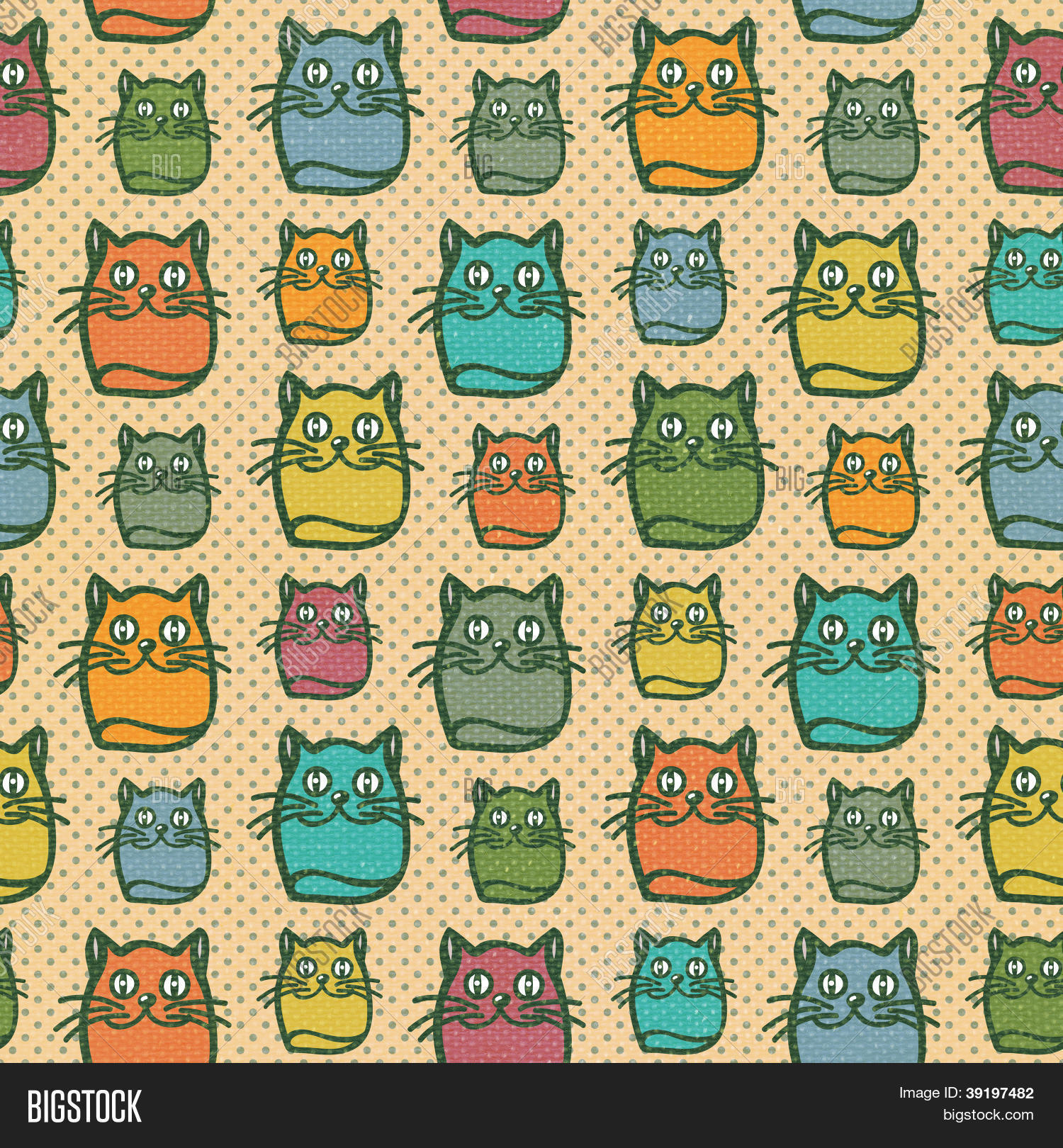Fun cat seamless wallpaper image photo bigstock for Fun pattern wallpaper