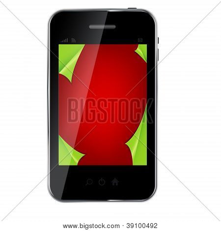 Abstract design mobile phone with Christmas background. vector i