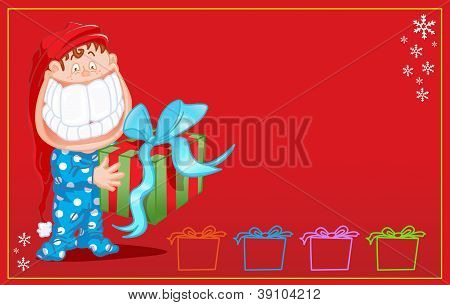 child with big smile and gift Christmas card