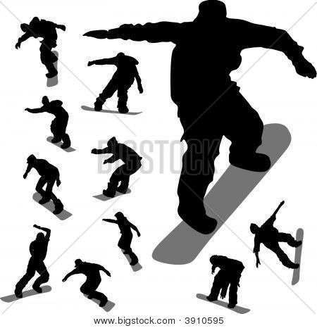 Some Silhouettes Of Snowboarders