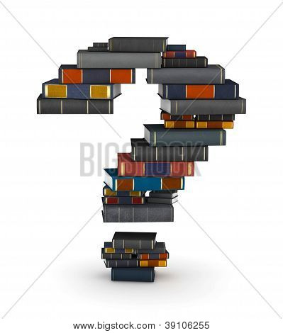 Question mark , stacked from books