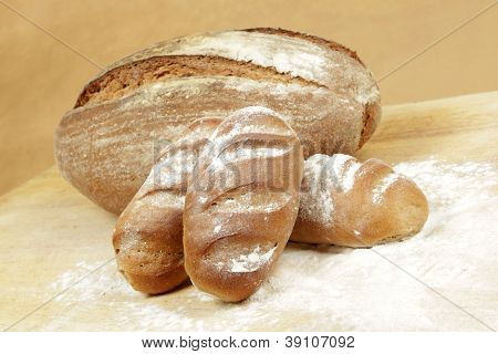 Rye Bread Rolls On A Breadboard