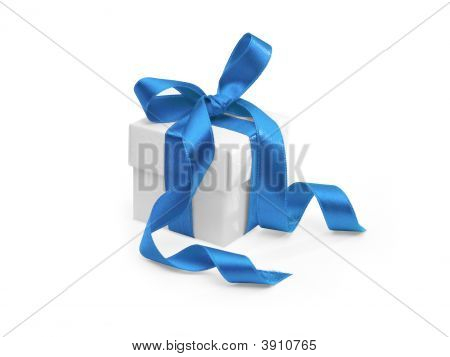Present With Blue Ribbon