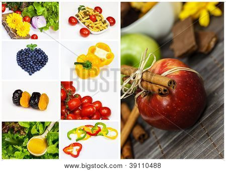 Collage with different fruits and vegetables.