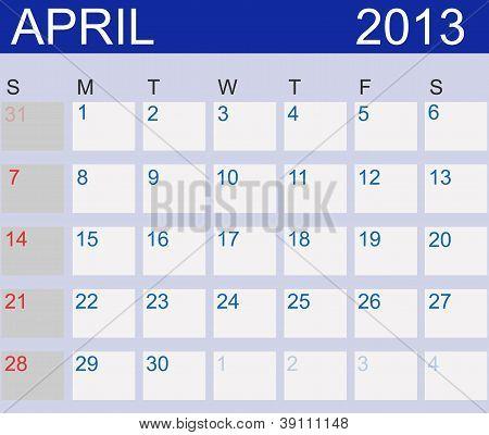 Calendar 2013. April. Vector Illustration