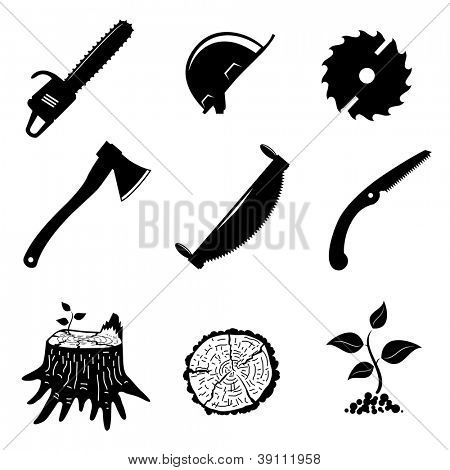 set of icons. woodworking industry. vector illustration.