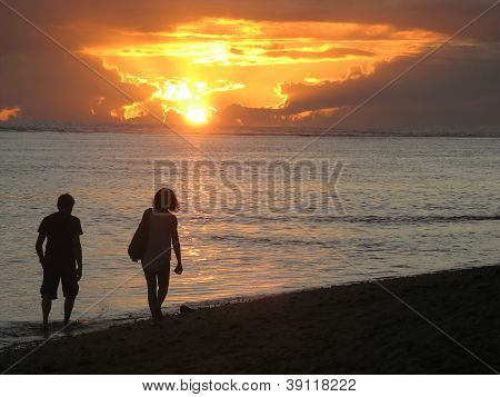 Couple At Mauritius Beach