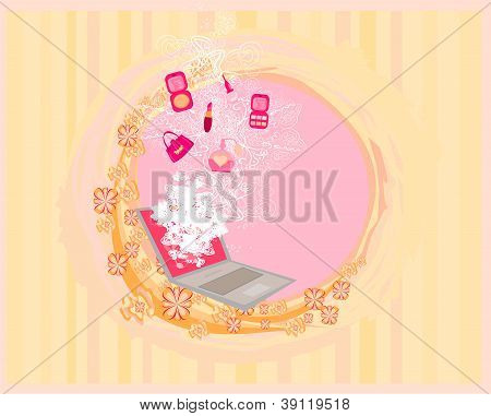 Online fashion Shopping abstract poster , vector illustration