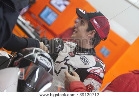 CHESTE - NOVEMBER 13: Marc Marquez during first test of MotoGP for 2013, on November 13, 2012, in Ricardo Tormo Circuit of Cheste, Valencia, Spain