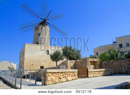 Typical Old Mediterranean Windmill