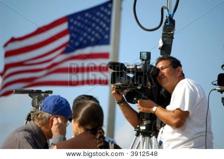 Tv Cameraman At An Obama Rally