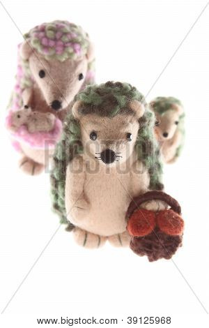 Handmade Hedgehog Toy Family Vertical