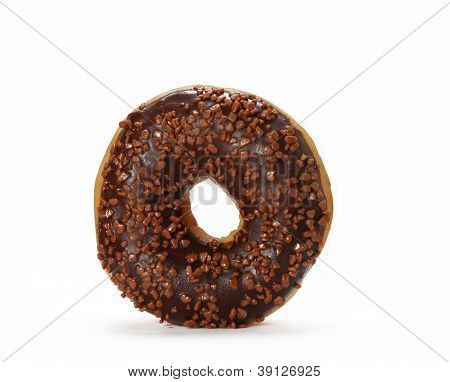 Tasty sweet chocolate donut isolated on white background.