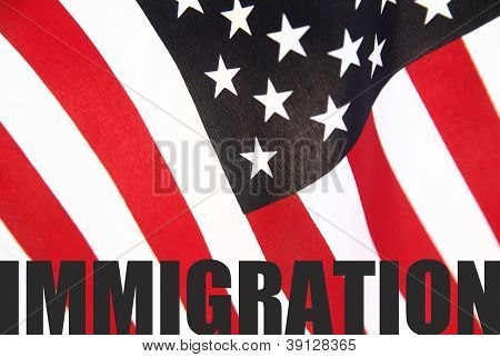 American flag with immigration word