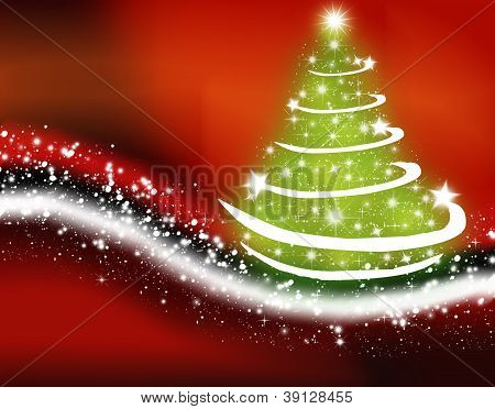 Christmas Greeting Card With Christmas Tree And Snowy Way