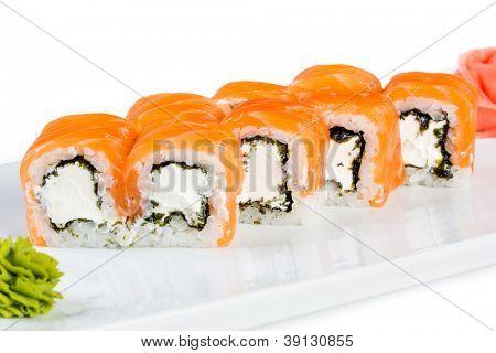 Sushi (Roll unagi maki syake) on a white background