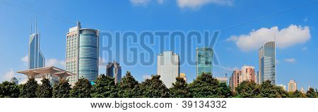 Shanghai urban architecture and skyline panorama over park
