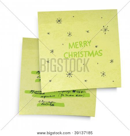 Business yellow sticky notes with Merry Christmas greetings. Vector illustration, EPS10.