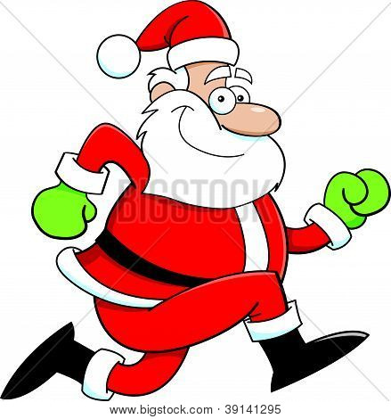 Cartoon Santa Claus running