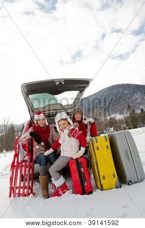 Winter, ski, journey - family with baggage ready for the travel for winter holiday