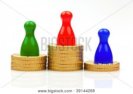 pawns on coins. success and rating. winners and losers.