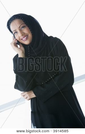 Middle Eastern Woman On Cell Phone
