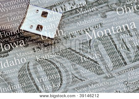 American states pattern overlain over memory stick and US dollar note.
